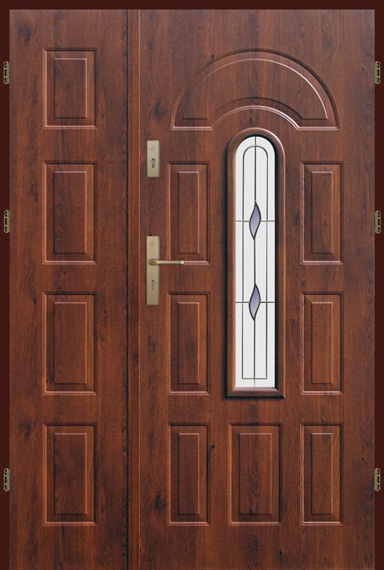 Drzwi zewnętrzne dwuskrzydłowe metalowe